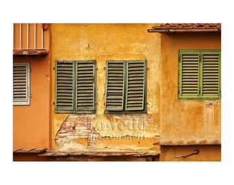 Florence Italy Photo, Ponte Vecchio, Old Shutters Photo, Honey Gold, Terra Cotta, Rustic Home Decor, Wall Art