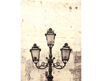 Antique Street Lamp Photo, Tuscany Italy, Travel Photography, Vintage Lighting, Rustic Elegant, Home Decor