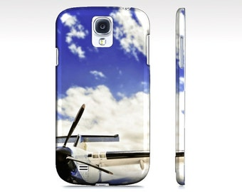 Airplane iphone case, blue sky galaxy cell phone cover iPad mini blue white clouds, black plane, travel, wanderlust, jet setter fly away