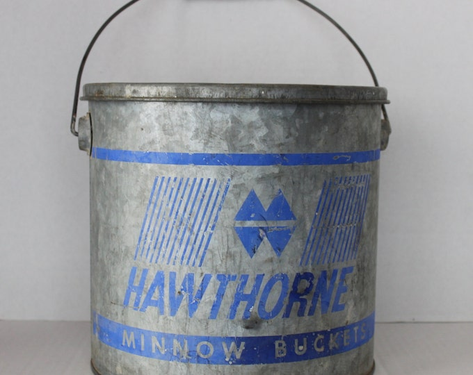 Vintage Hawthorne Galvanized Steel Minnow Bucket, Fishing Pal