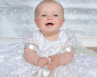 Stunning  White Lace Christening Gown, Baptism, 0 - 3 months, 0-3 months, 3-6 months, 6-9 months, 9-12 months, 12-18 months, 18-24 months