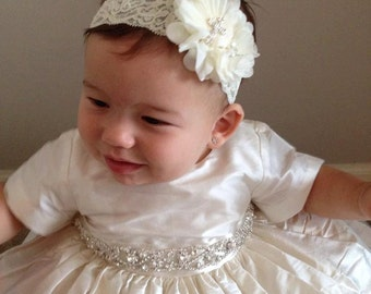 Exquisite Silk HEIRLOOM Christening Gown with Intricate Rhinestone Sash