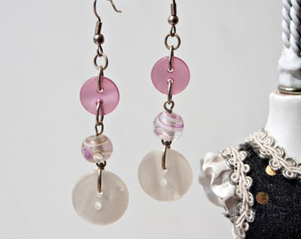 Pink Upcycled Button & Glass Bead Long Dangle Earrings