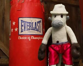 Rocky, the boxing - unique sock monkey