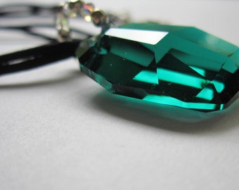 Emerald Green Pendant  On Black Cord - Holiday Jewelry, Mother of the Bride, For Her, Birthday, Anniversary, Gift For Girlfriend, For Mom