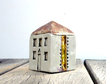 White And Gold House, Cottage ,Ceramic Sculpture , Architecture , Neutral Decor