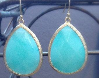 Large Stone Drop Earrings // Teardrop Earrings // Stone Statement Earrings // Bridesmaid Earrings