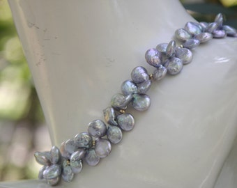 Pearl necklace statement freshwater coin pearls golden balls and clasp 14 cts
