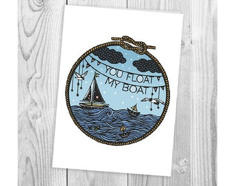 Valentines Card - You Float My Boat - Folded Greeting Card - Papercut Illustration - Love, Anniversary