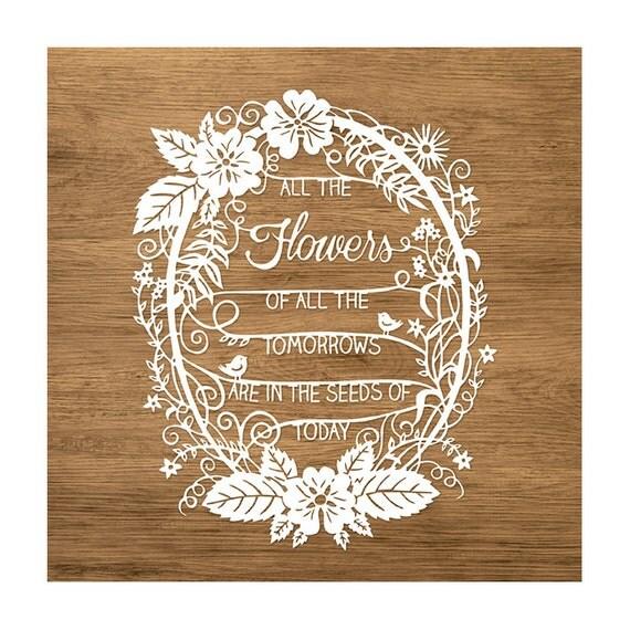 image papercut scherenschnitte sarah trumbauer flowers quote