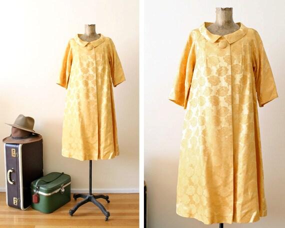 1960s coat / brocade coat jacket / golden yellow coat / loose fit M-L