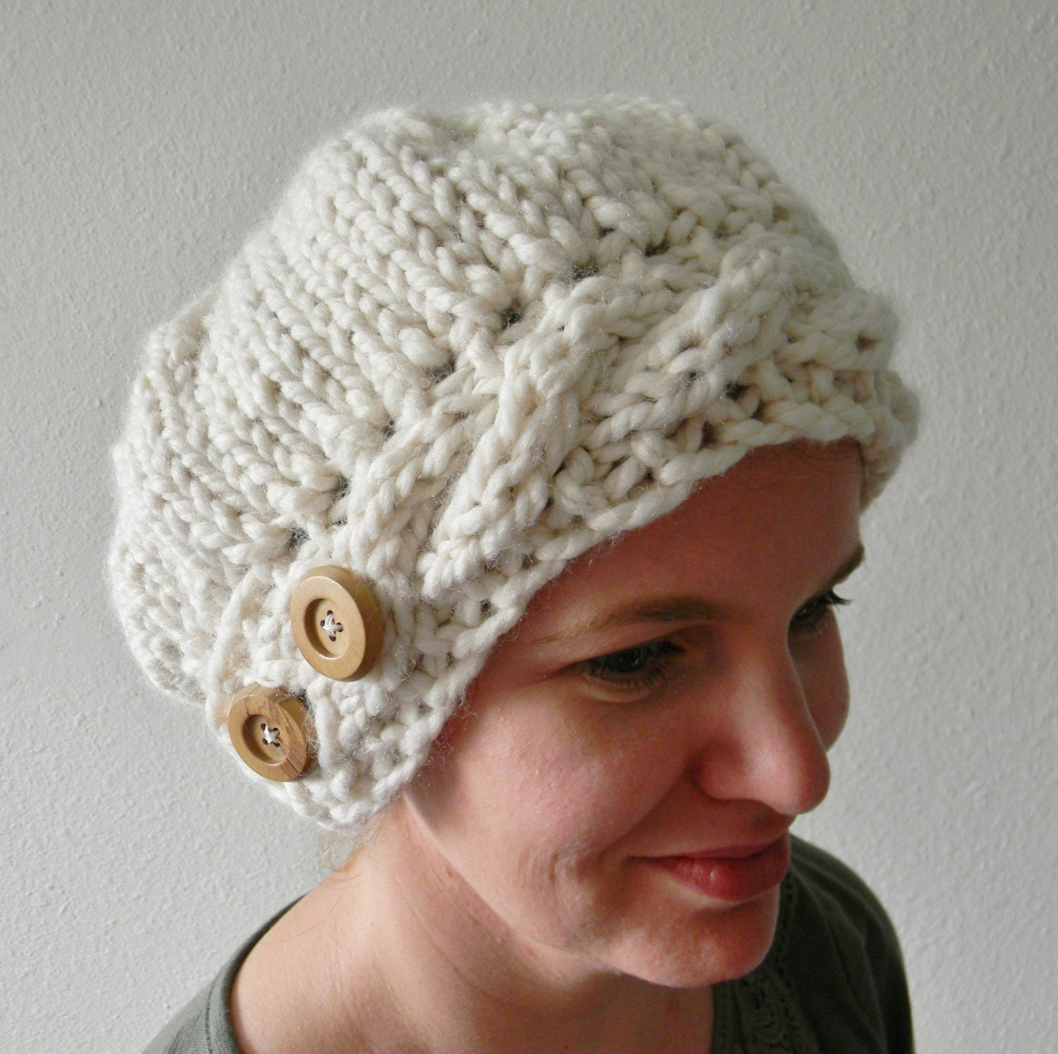 Knit a simple beret with cable brim crafthubs knitting pattern jenny slouchy knit hat pattern slouchy bankloansurffo Images