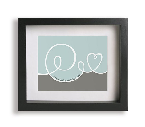 Music Inspired Wall Decor : Items similar to crazy in love inspired song lyrics art