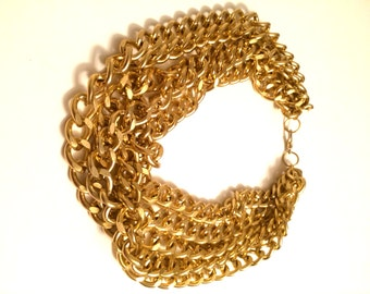 Layered Gold Chain Choker