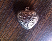 SALE Deep Carved Sterling Puffed Heart Pendant Leaf And Ornate Scroll Details and Stamping: 1.25 X 1.4 inches Was 48 Sale 41.00