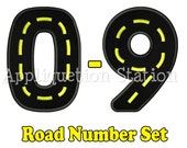 Road Birthday Number Set Applique Machine Embroidery Design 1st first boy 0,1,2,3,4,5,6,7,8, AND 9 blue  INSTANT DOWNLOAD
