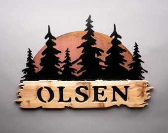 Personalized Sign - Wood and Steel Sunset