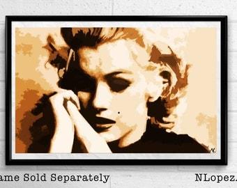 Marilyn Monroe Hollywood Icon Illustration, Film Pop Art, Movie Home Decor, Poster, Print Canvas