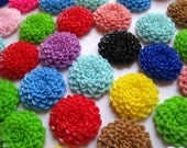 24mm Resin Flower Cabochons / 12 pcs Mixed Lot Resin Dahlias Mum Flowers.... Perfect for Bobby Pins, Pendants and More