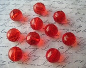 Red Faceted Gumball Bead, 10 pcs, 16mm Translucent Beads, Bubblegum Bead, Necklace Beads