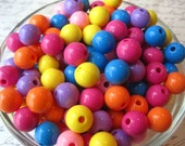12mm Beads, Solid Color Beads, 25 pcs, Mixed Color Bubblegum Bead, Small Gumball Beads, Acrylic Bead, Bracelet Beads, Spacer Beads