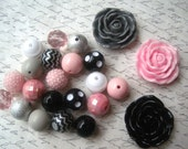 Chunky Necklace Kit, Pink, Gray and Black Gumball Bead Kit, Bubblegum Necklace Kit, DIY Chunky Necklaces
