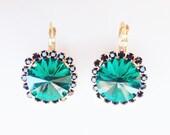 Green and Black Crystal Stud earrings - rhinestones posts - 24k gold plated