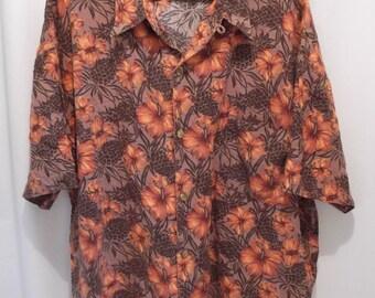 vintage, DUKE KAHANAMOKU an hawaiian original hibiscus flower and pineapple floral aloha mens short sleeve shirt custom made 1X