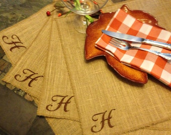 Burlap Personalized Embroidered Placemats - set of 6 in Vivaldi font