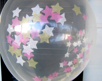 Confetti Balloons, Hot Pink, White, Gold, Baby Girl, Confetti Filled Balloons, 1st Birthday, Princess, Bridal Shower, Baby Shower, Stars