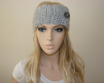 Grey Crochet headband with button, Gray Knit headband, Wool Blend Turban Headband hair band, head scarf, woman fashion winter ski head wrap