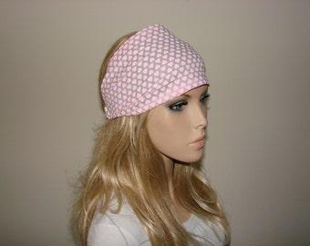 Bandana Headband, Light Pink  white Hearts Head Scarf, Wide  Turban Headband, Yoga Headband, Woman tribal boho head wrap, bandana headband
