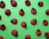 Royal icing ladybugs -- Handmade cupcake toppers cake decorations edible (24 pieces)