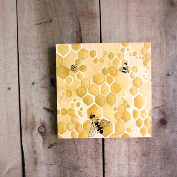 Abstract Honey Painting Honey Bee Honeycomb Yellow Ochre