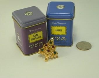 Vintage Gold Christmas Tree Jeweled Brooch