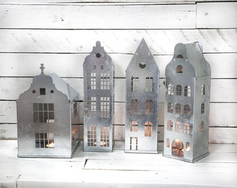 Tin house candle holder zinc lantern modern home decor - Petite maison de noel decoration ...