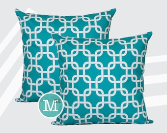 Turquoise Gotcha Pillow Covers - 20 x 20 and More Sizes - Zipper Closure