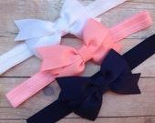 You pick 3 bow headbands -  headband with 3 inch bow, baby headband, newborn headband, bow headband, baby bow headband, baby girl