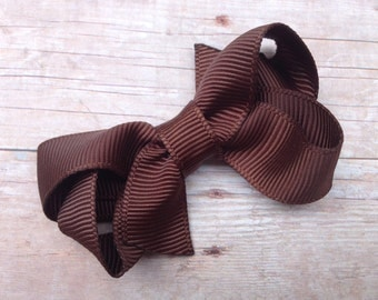 Small brown boutique bow - brown bow