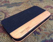 GALAXY S4 case real herringbone black leather and bois de rose wood case