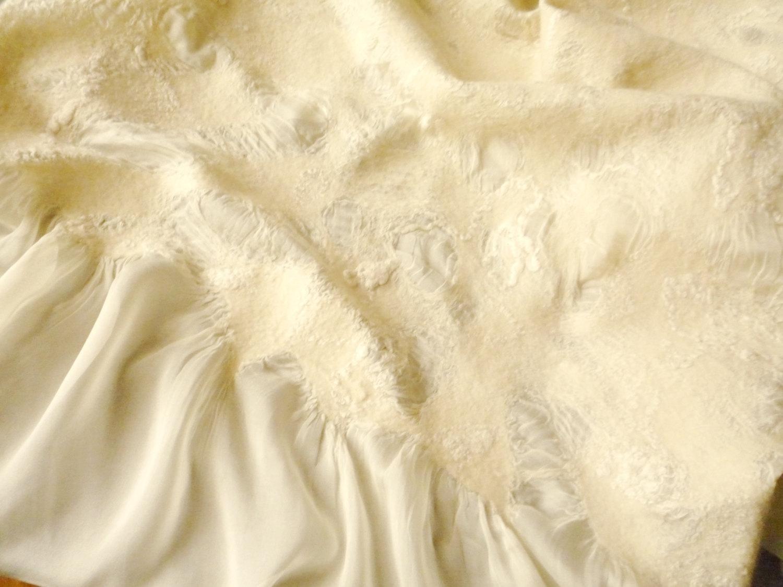 RESERVED FOR DEANNA!!  Nuno felted scarf. Silk shawl. Bridal scarf. Wedding accessory. Champagne color
