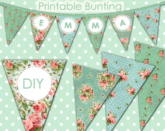 Bunting - Floral - DIY - Printable - Parties - Weddings - Digital Image - 1633