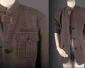 Reserved - Military jacket army grey checks vintage Harve Benard Bohemain Gypsy HIppie women size 10 M medium