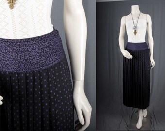 Pleated Skirt Black purple maxi long womens size M Medium