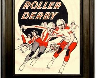 Roller Derby Print 8 x 10 - Vintage Roller Derby Ad Reprint - 1950s Retro - Roller Skating