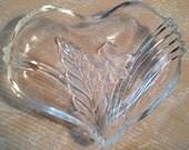 Heart-Shaped Crystal Cut Glass Bowl Candy Dish
