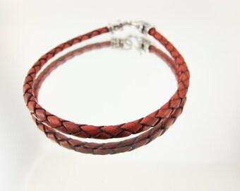 Bolo Braided Leather Bracelet Antique Tan #655