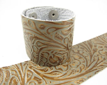 """Tooled Grey Copper Leather Cuff Bracelet 2"""" Wide, #57-85241613"""