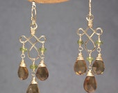 Peridot and whiskey quartz dangle earrings Gypsy 71