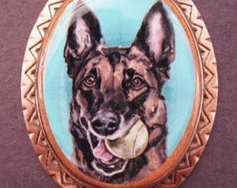 Malinois original art copper pin